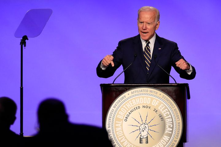 Former Vice President Joe Biden speaks at the International Brotherhood of Electrical Workers construction and maintenance co