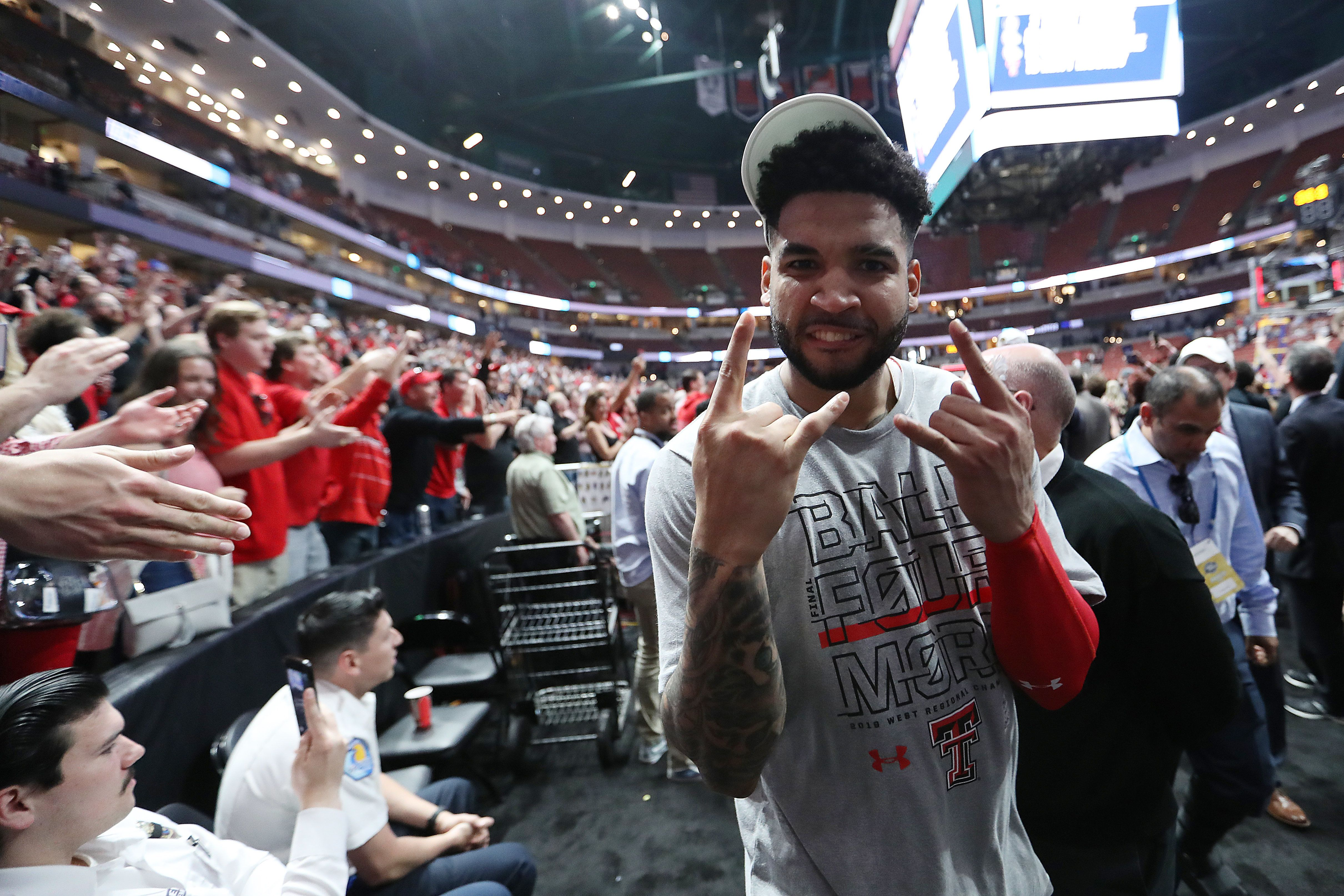 ANAHEIM, CALIFORNIA - MARCH 30: Brandone Francis #1 of the Texas Tech Red Raiders celebrates as he walks off the court after defeating the Gonzaga Bulldogs during the 2019 NCAA Men's Basketball Tournament West Regional at Honda Center on March 30, 2019 in Anaheim, California. (Photo by Sean M. Haffey/Getty Images)