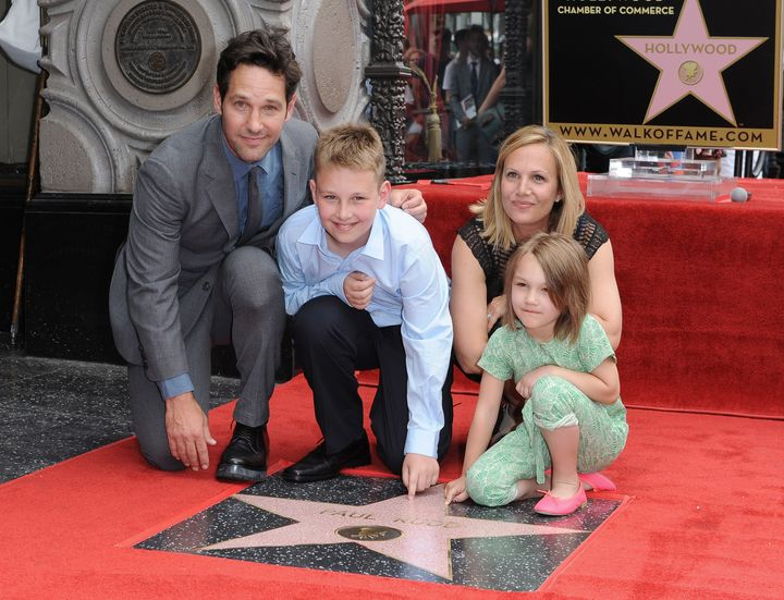 Paul Rudd with his family in July 2015.