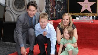 HOLLYWOOD, CA - JULY 01:  Actor Paul Rudd, wife Julie Yaeger, son Jack Rudd and daughter Darby Rudd attend the ceremony honoring Paul Rudd with a star on the Hollywood Walk of Fame on July 1, 2015 in Hollywood, California.  (Photo by Axelle/Bauer-Griffin/FilmMagic)