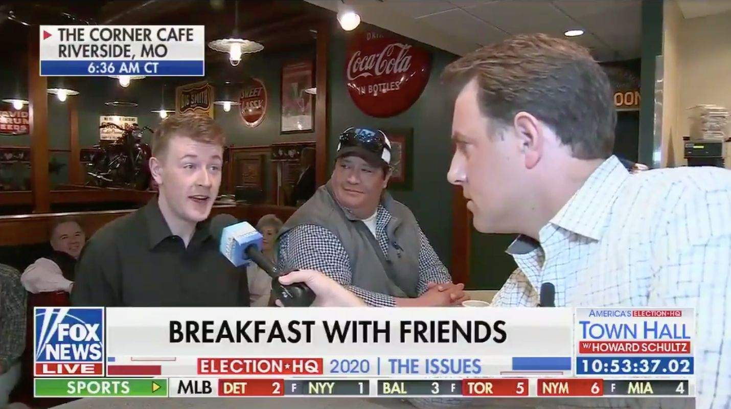 Jack Vandeleuv, 23, does an interview with Fox News.