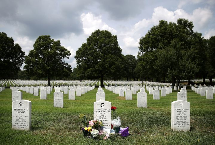 The gravesite of Muslim American U.S. Army Capt. Humayun Khan at Arlington National Cemetery on Aug. 1, 2016.