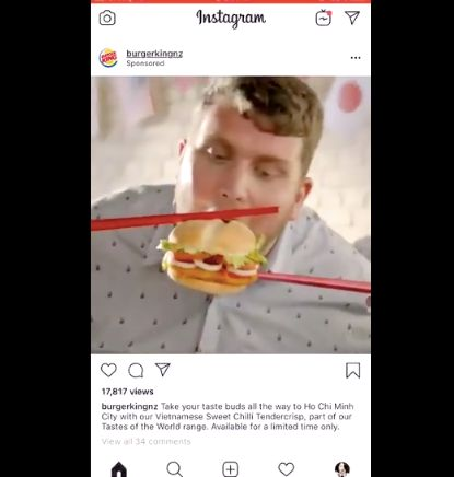 Burger King New Zealand came out with a promotional video featuring people trying to eat a burger with chopsticks.