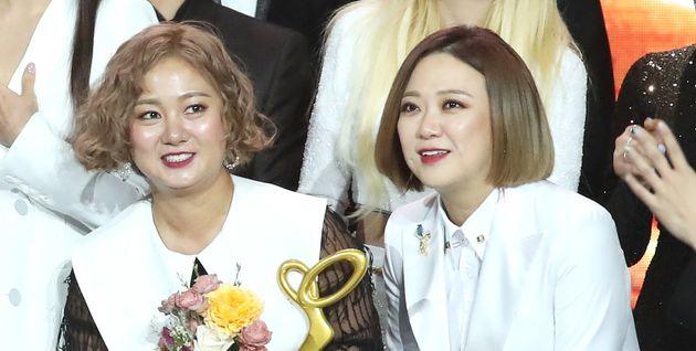지난해 10월 2018 대한민국 대중문화예술상 시상식에 참석한 박나래와 김숙