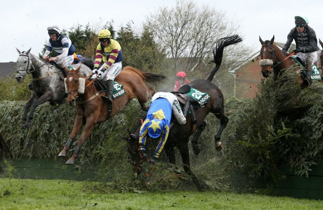 Charlotte Crane falls from Seefood at Becher's Brook during Grand National Thursday – the horse...