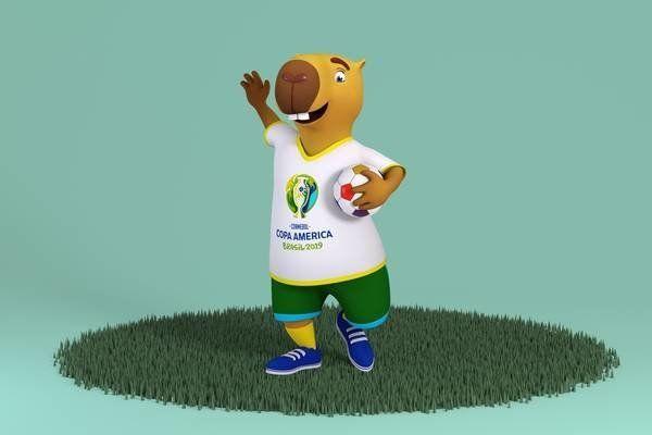 Copa América, disputada no Brasil, terá uma capivara como