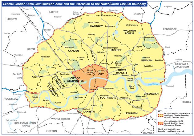 Zones In London Map.Ulez Car Check Map Charges And Start Date What You Need To Know