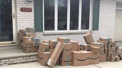 Amazonから半年分の荷物が!? 家の前に並ぶ数十箱の段ボール、エイプリルフールのドッキリに驚愕