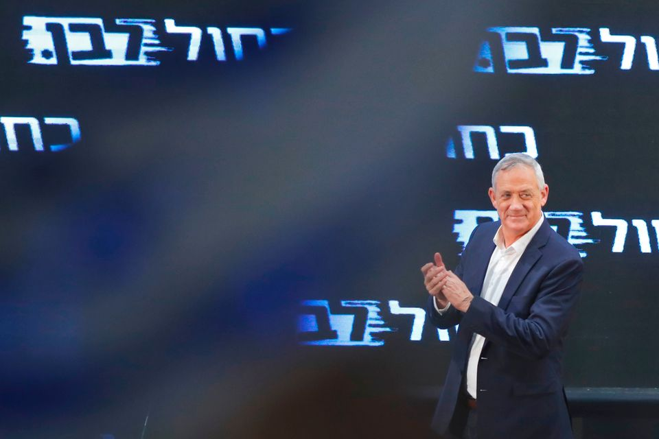 Retired Israeli general Benny Gantz, one of the leaders of the Blue and White (Kahol Lavan) political