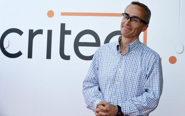Jean-Baptiste Rudelle, PDG de Criteo, lors d'une conférence de presse dans les locaux parisiens...