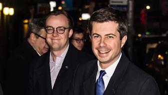 NEW YORK, NY - FEBRUARY 14:  32nd Mayor of South Bend, Indiana and 2020 Democratic Presidential candidate Pete Buttigieg (R) and husband Chasten Glezman are seen arriving at 'The Late Show With Stephen Colbert' at the Ed Sullivan Theater on February 14, 2019 in New York City.  (Photo by Gilbert Carrasquillo/GC Images)