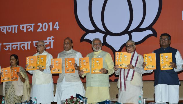 The BJP releasing its manifesto ahead of the 2014 Lok Sabha