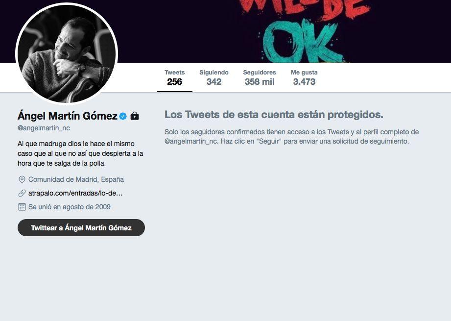 Ángel Martín bloquea su cuenta en Twitter: