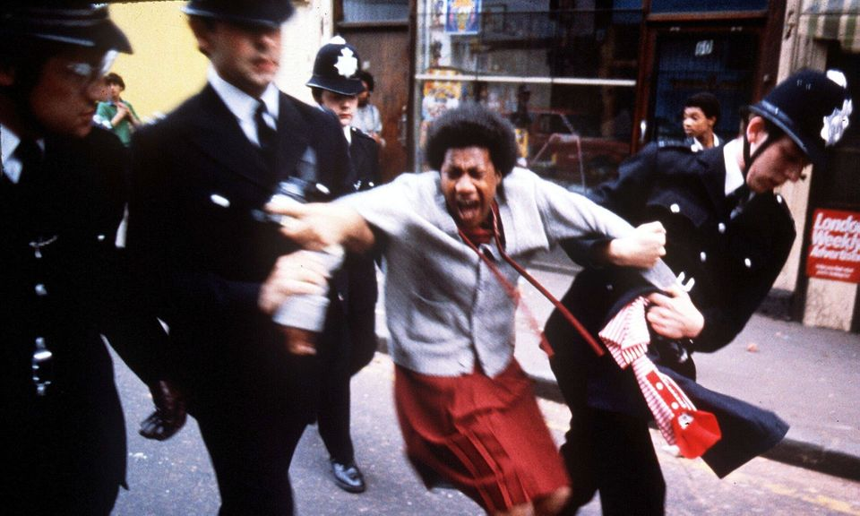 Police arrest a woman in the Brixton riots of 1981. 'In the 1980s police harassment of black people was rife, and sparked three separate waves of massive civil unrest'.