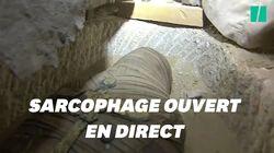 La découverte d'une momie filmée en direct par une chaîne