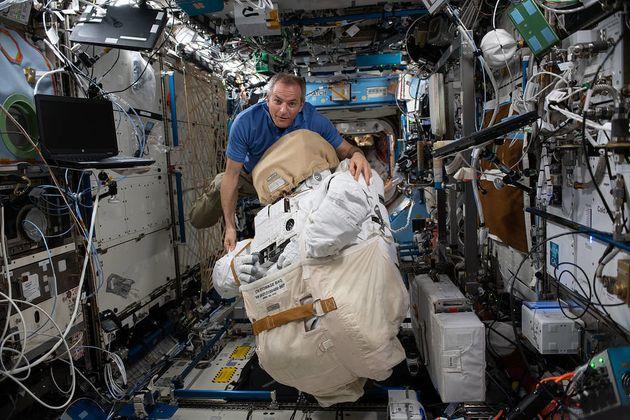 L'astronaute Canadien David Saint-Jacques à bord de l'ISS. L'étude récente de la...