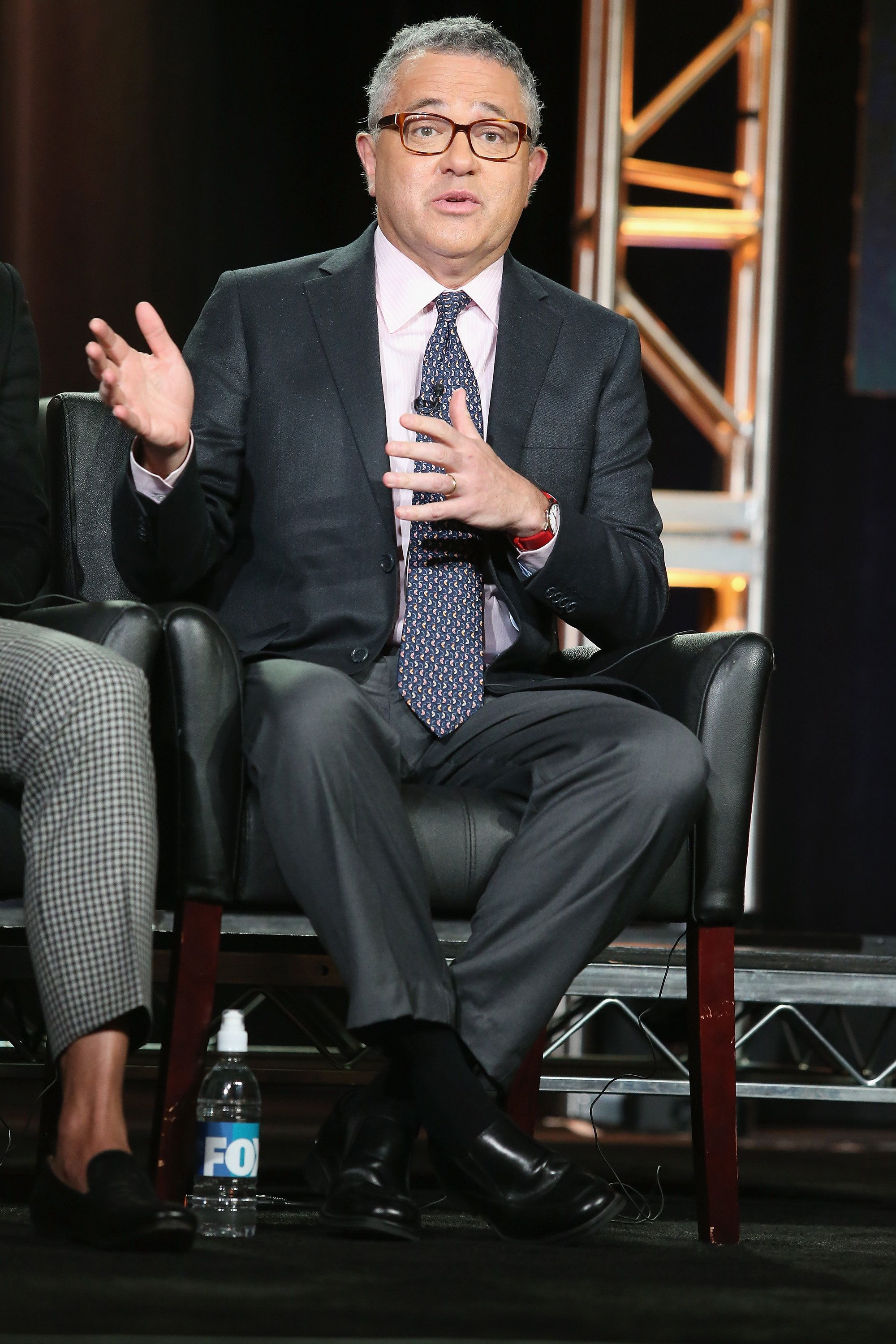 PASADENA, CA - JANUARY 16:  Consultant Jeffrey Toobin speaks onstage during 'The People v. O.J. Simpson: American Crime Story' panel discussion at the FX portion of the 2015 Winter TCA Tour at the Langham Huntington Hotel on January 16, 2016 in Pasadena, California.  (Photo by Frederick M. Brown/Getty Images)