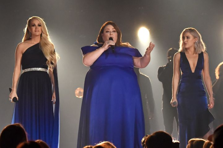 Underwood, Metz and Maddie Marlow and Tae Dye of Maddie & Tae during the 54th Academy Of Country Music Awards.