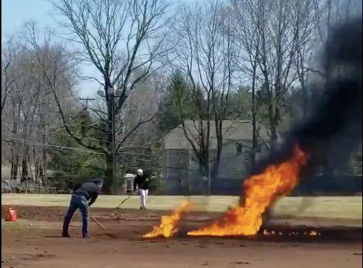 baseball field on fire