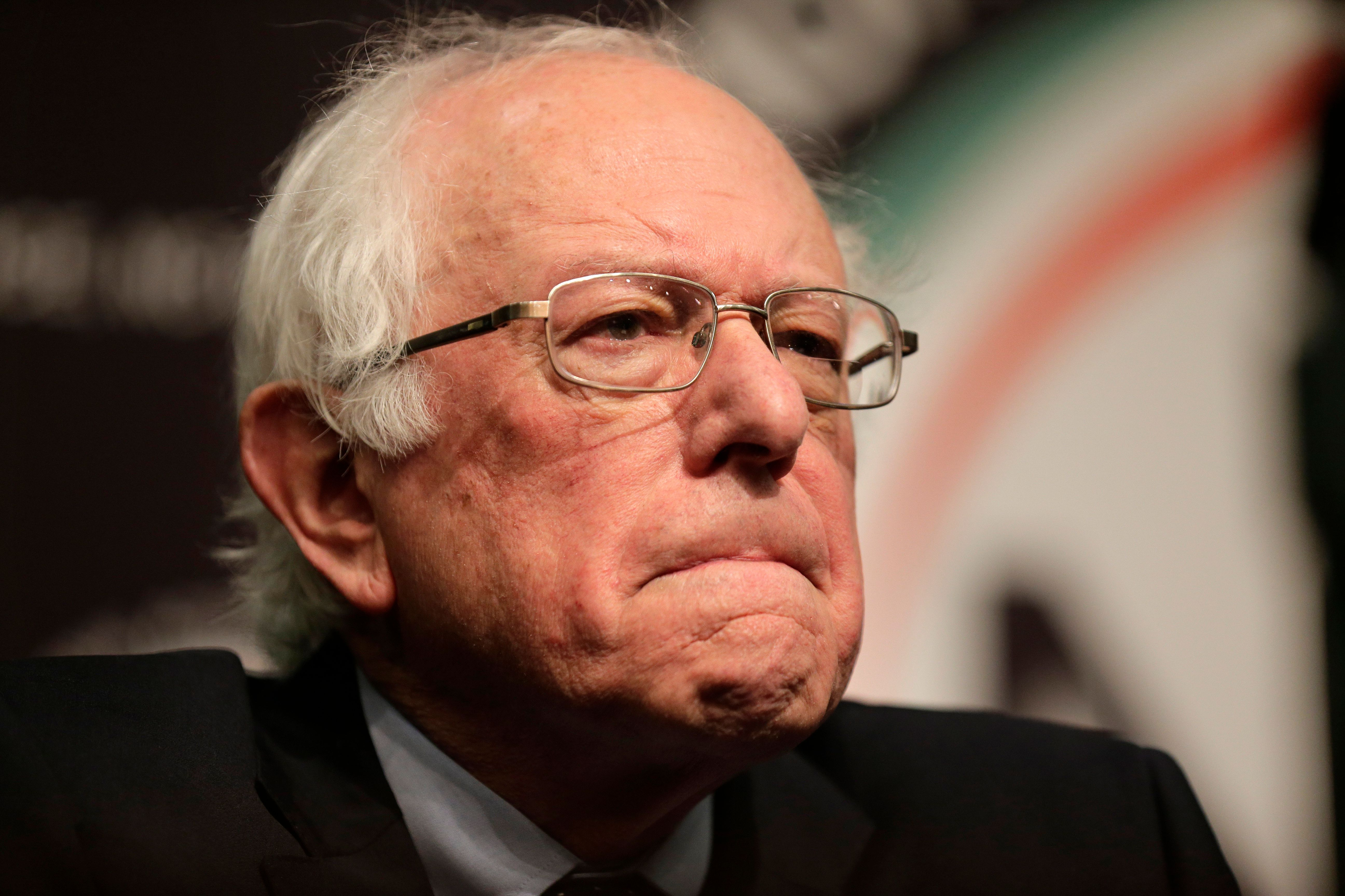 Sen. Bernie Sanders prepares to speak during the National Action Network Convention in New York, Friday, April 5, 2019. (AP Photo/Seth Wenig)