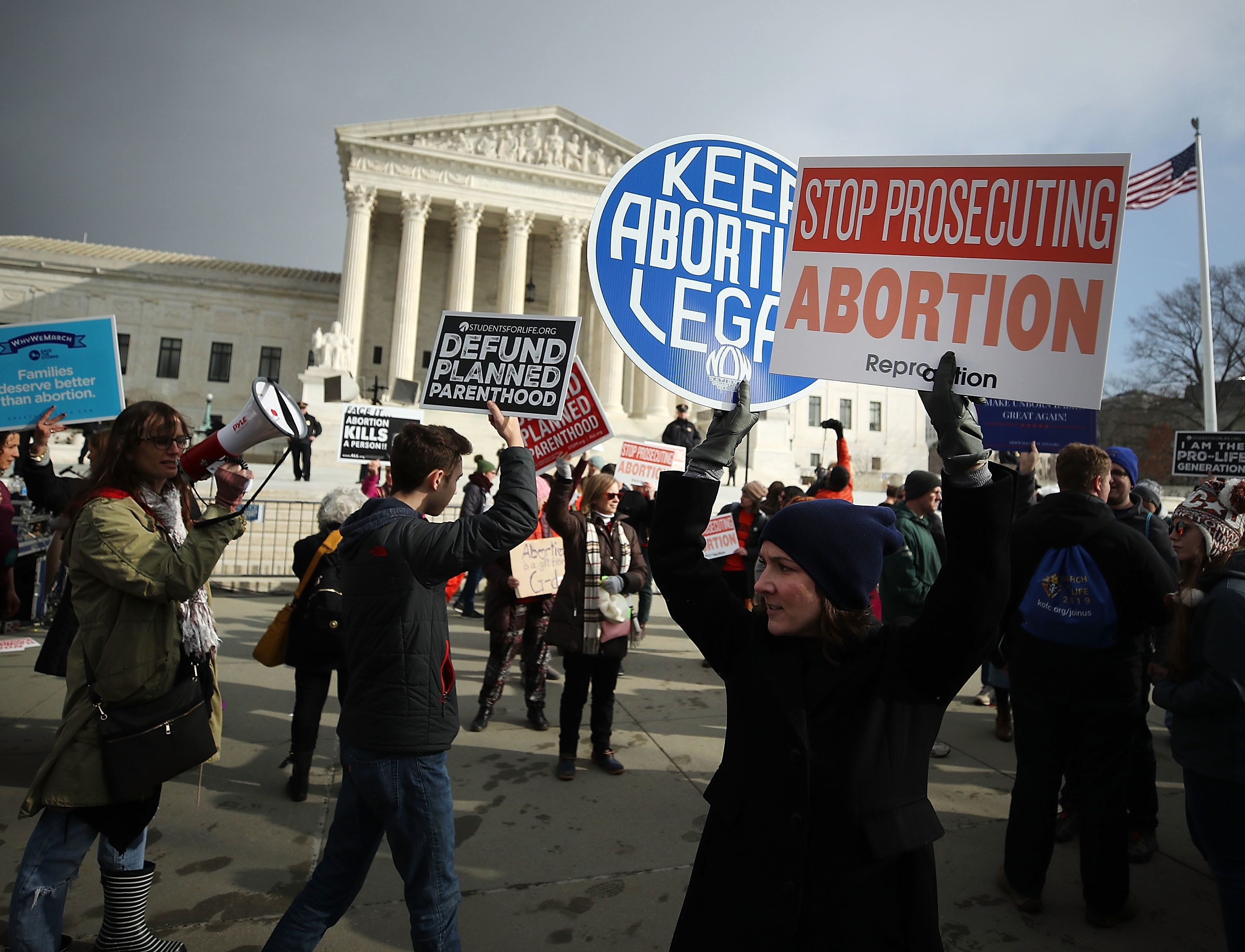 Protesters gather in front of the Supreme Court on Jan. 18, 2019. State legislators have introduced an unprecedented number o