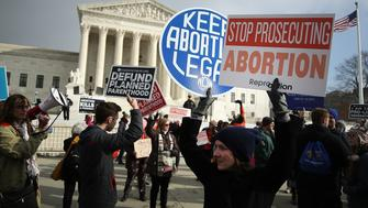 WASHINGTON, DC - JANUARY 18:  Protesters on both sides of the abortion issue gather in front of the U.S. Supreme Court building during the Right To Life March, on January 18, 2019 in Washington, DC. The Right to Life Campaign held its annual March For Life rally and march to the U.S. Supreme Court protesting the high court's 1973 Roe V. Wade decision making abortion legal.  (Photo by Mark Wilson/Getty Images)