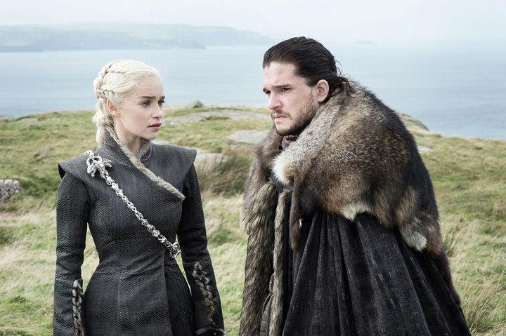 "Daenerys Targaryen (Emilia Clarke) and Jon Snow (Kit Harington) in ""Game of Thrones."""