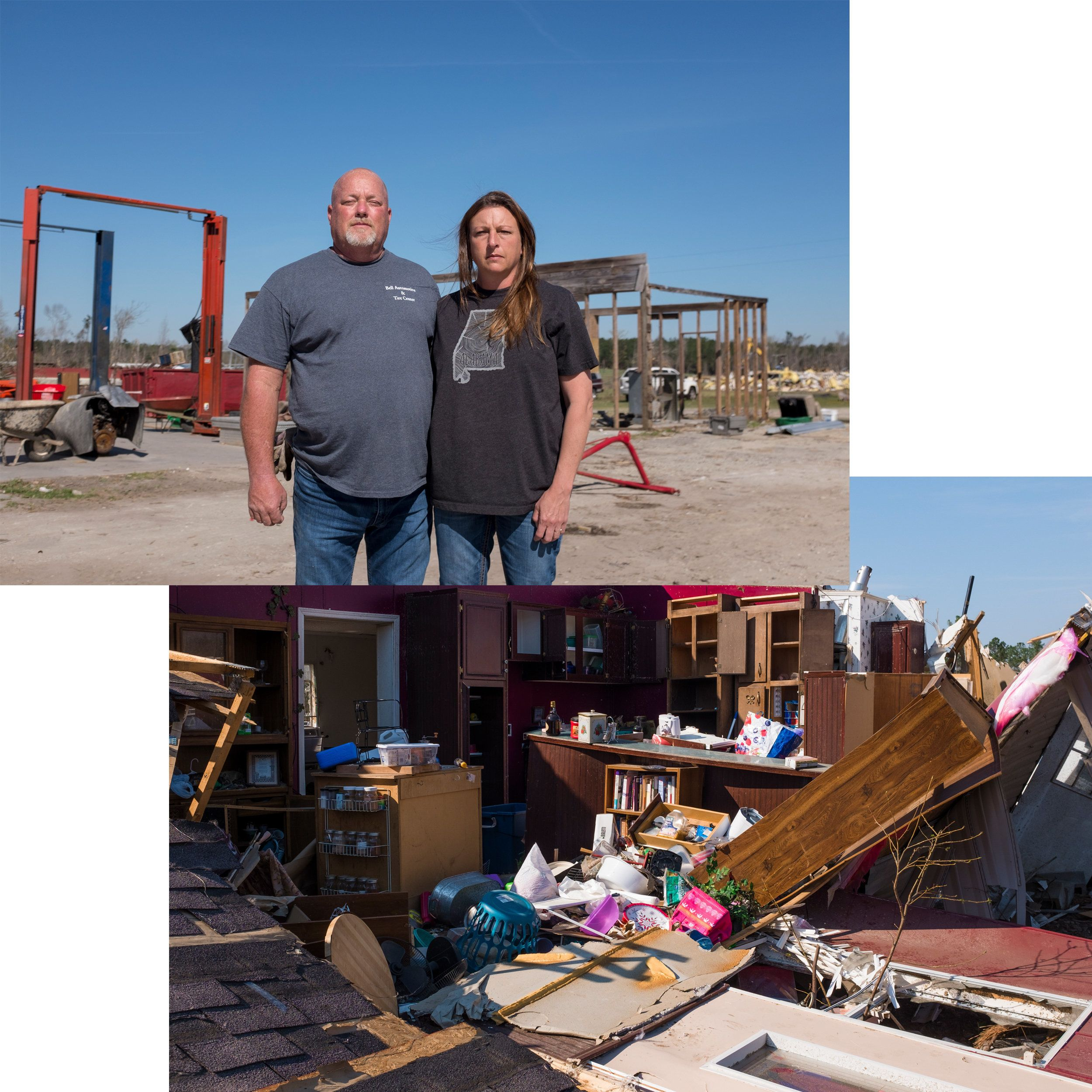 (Top) Troy Bell and his wife, Melanie, stand in front of what was their automotive mechanic shop. (Bottom) Various belongings