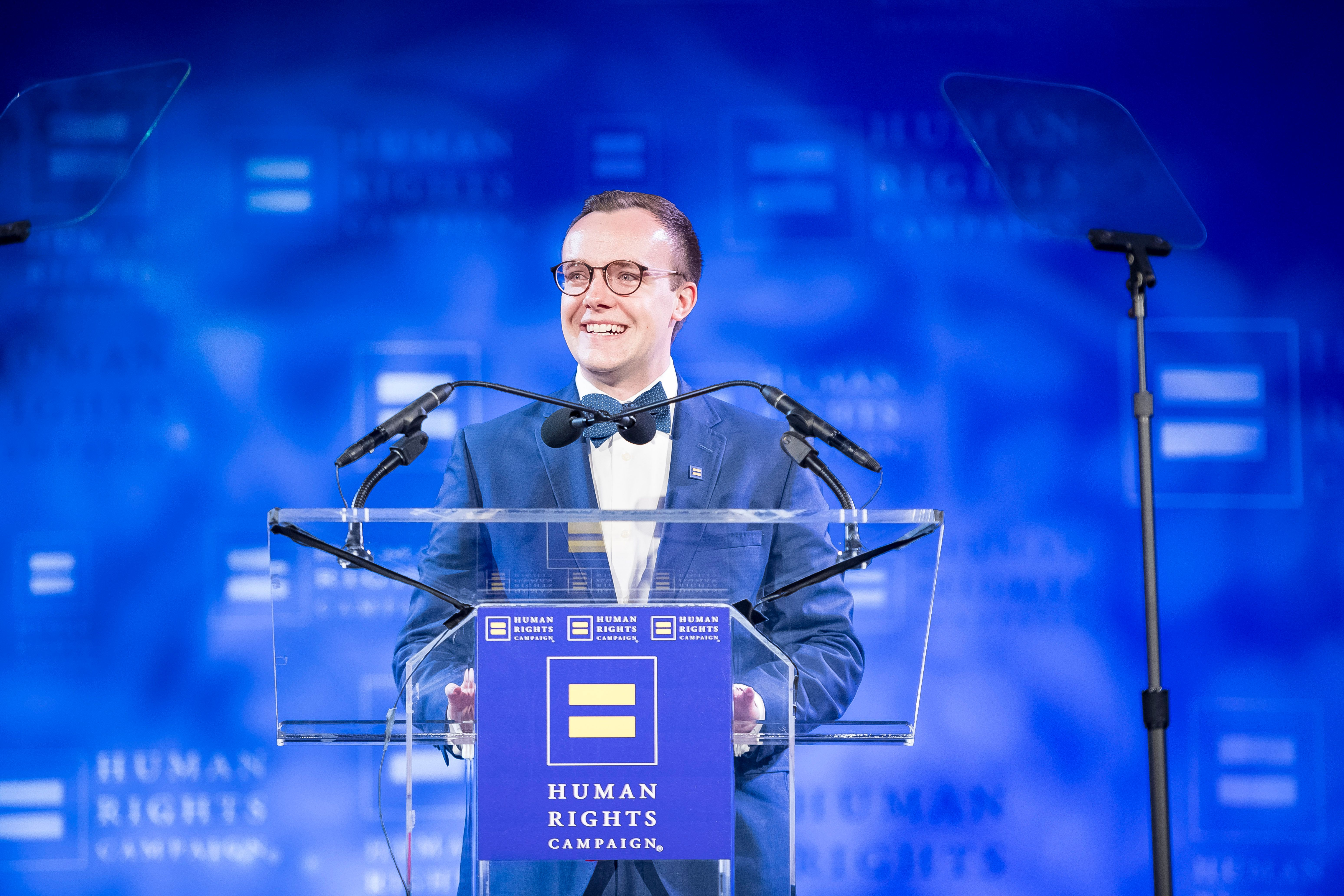 IMAGE DISTRIBUTED FOR HUMAN RIGHTS CAMPAIGN - Chasten Buttigieg speaks at the Human Rights Campaign annual dinner on Saturday, April 6, 2019 in Houston. (Anthony Rathbun/AP Images for Human Rights Campaign)