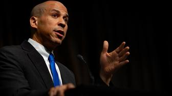 Democratic presidential candidate Cory Booker speaks at the third day of the National Action Network's 26th national convention in New York City on April 5, 2019. The convention featured speeches and panel discussions around issues such as voting rights, criminal justice reform, immigration, health care, education, corporate responsibility, and economic equity. (Photo by Michael Nigro/Sipa USA)