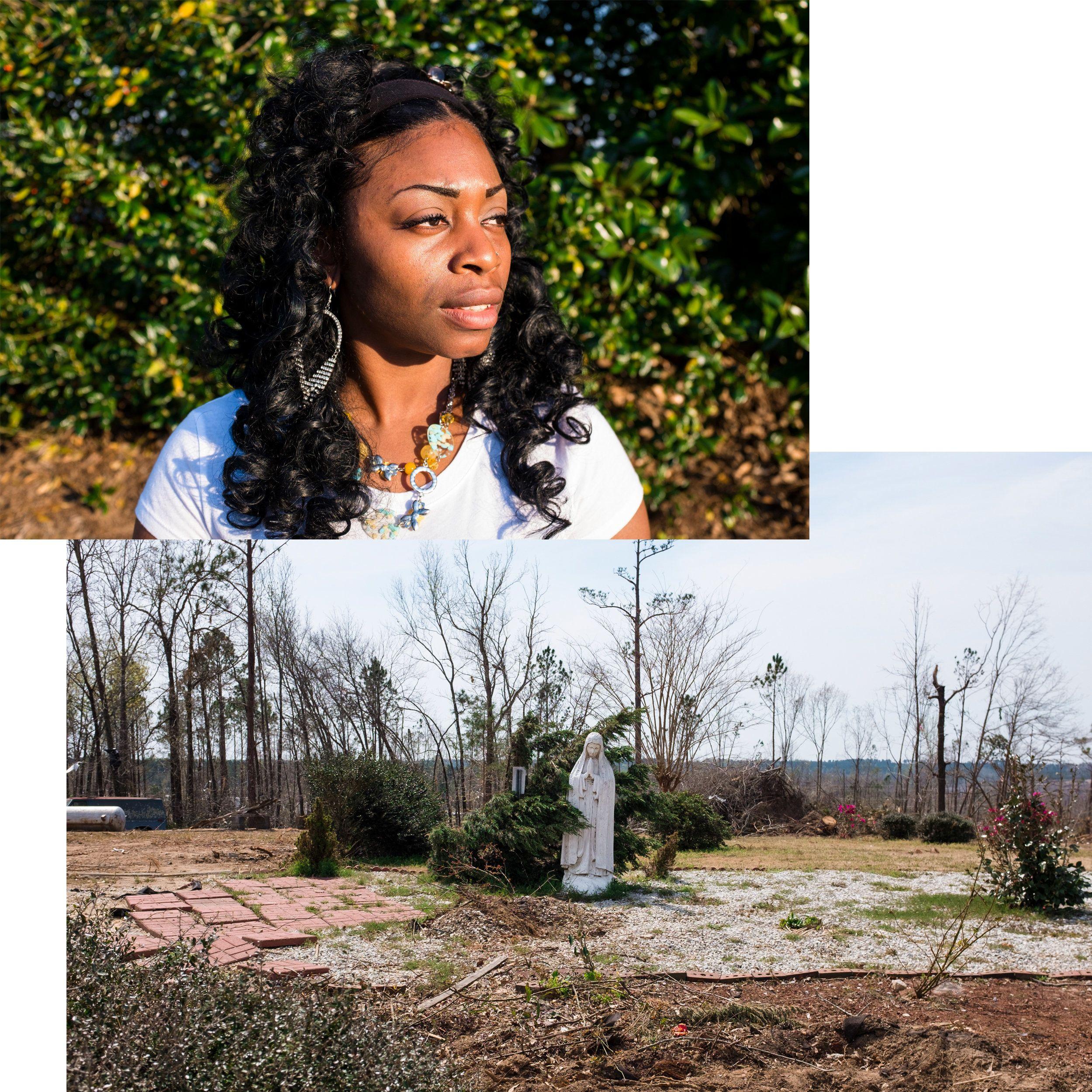 (Top) Shamel Hart lost her son, Jonathan Bowen, 9, and niece, Mykhayla Waldon, 8, in the tornado that struck the Beauregard c