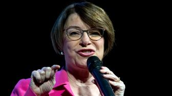 Democratic presidential candidate Sen. Amy Klobuchar, D-Minn., speaks during the We the People Membership Summit, featuring the 2020 Democratic presidential candidates, at the Warner Theater, in Washington, Monday, April 1, 2019. (AP Photo/Jose Luis Magana)