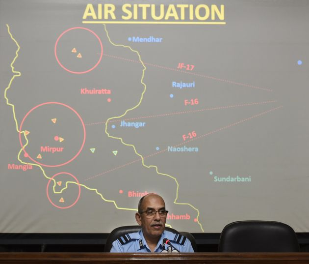 Indian Air Force Air Vice Marshal RGK Kapoor speaks during a media briefing at South Block on April 8,...