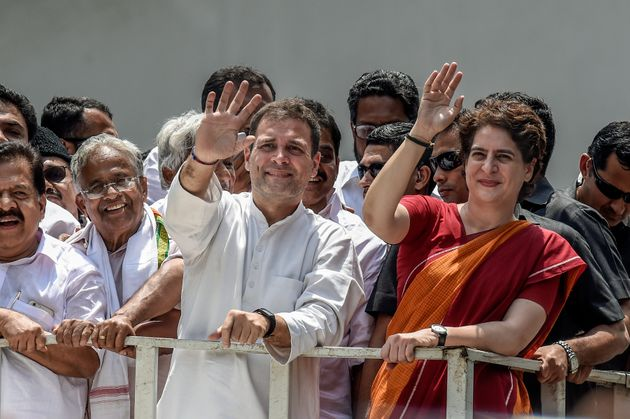 Rahul and Priyanka Gandhi at the road show after Rahul filed nominations from Wayanad on 4 April 2019...
