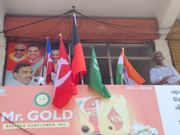 CPM flags seen along with those of alliance partners in Gudalur and Pandalur areas of Nilgiri in Tamil...