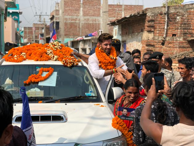 Chirag Paswan during his campaign in Jamui town of