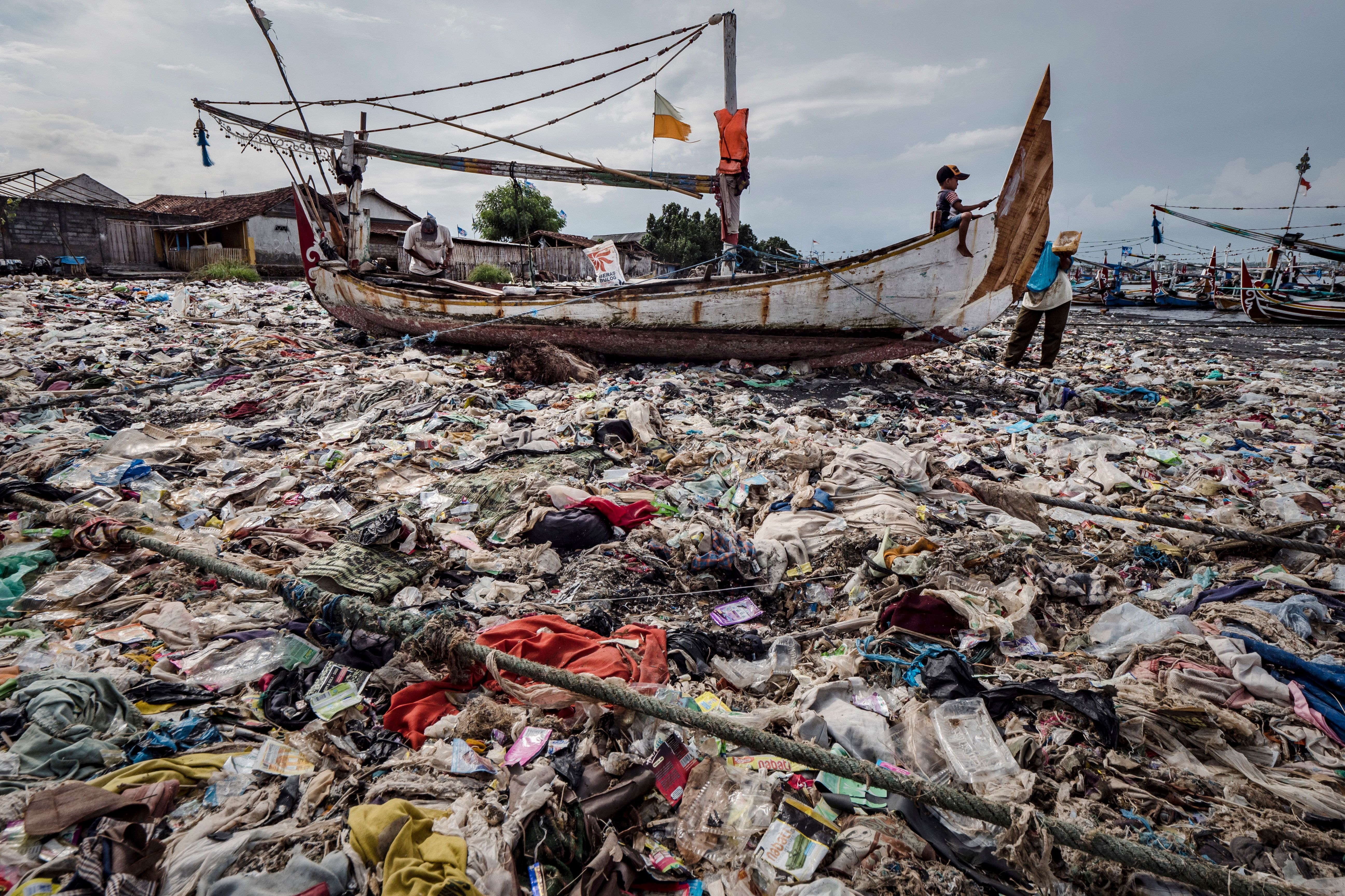 HuffPost visited this beach smothered in plastic waste at Muncar port in Banyuwangi, East Java, Indonesia,on March 4, 2
