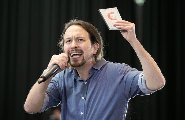 El líder de Podemos, Pablo Iglesias, en un acto