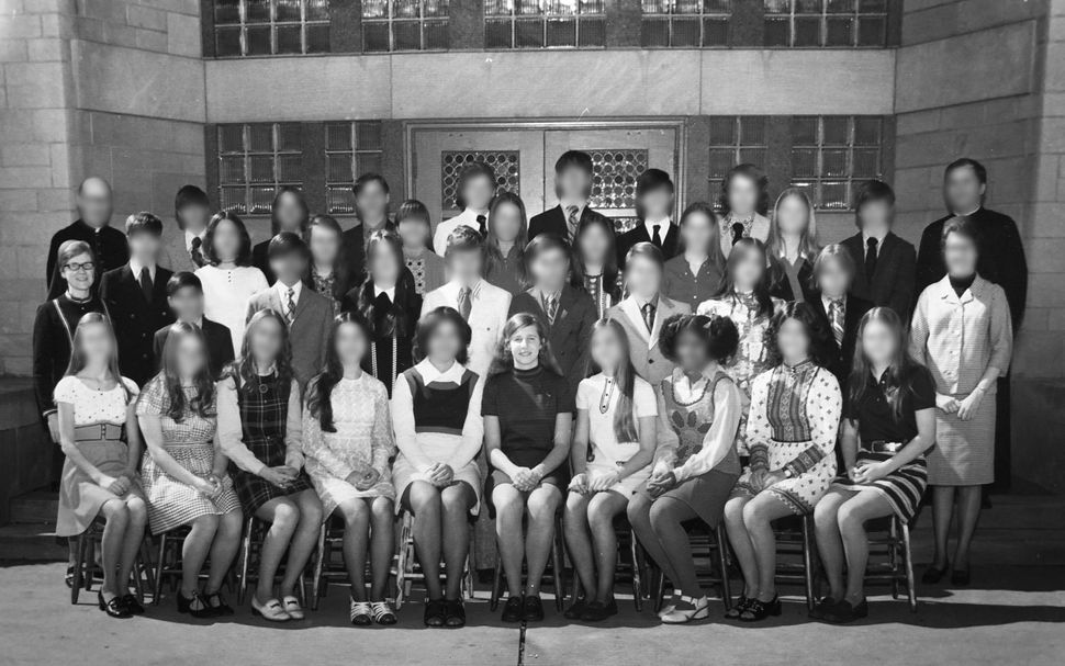 Anne Gleeson (center) is pictured in a class photo from Immacolata School in Missouri. Judith Fisher (far left, center r