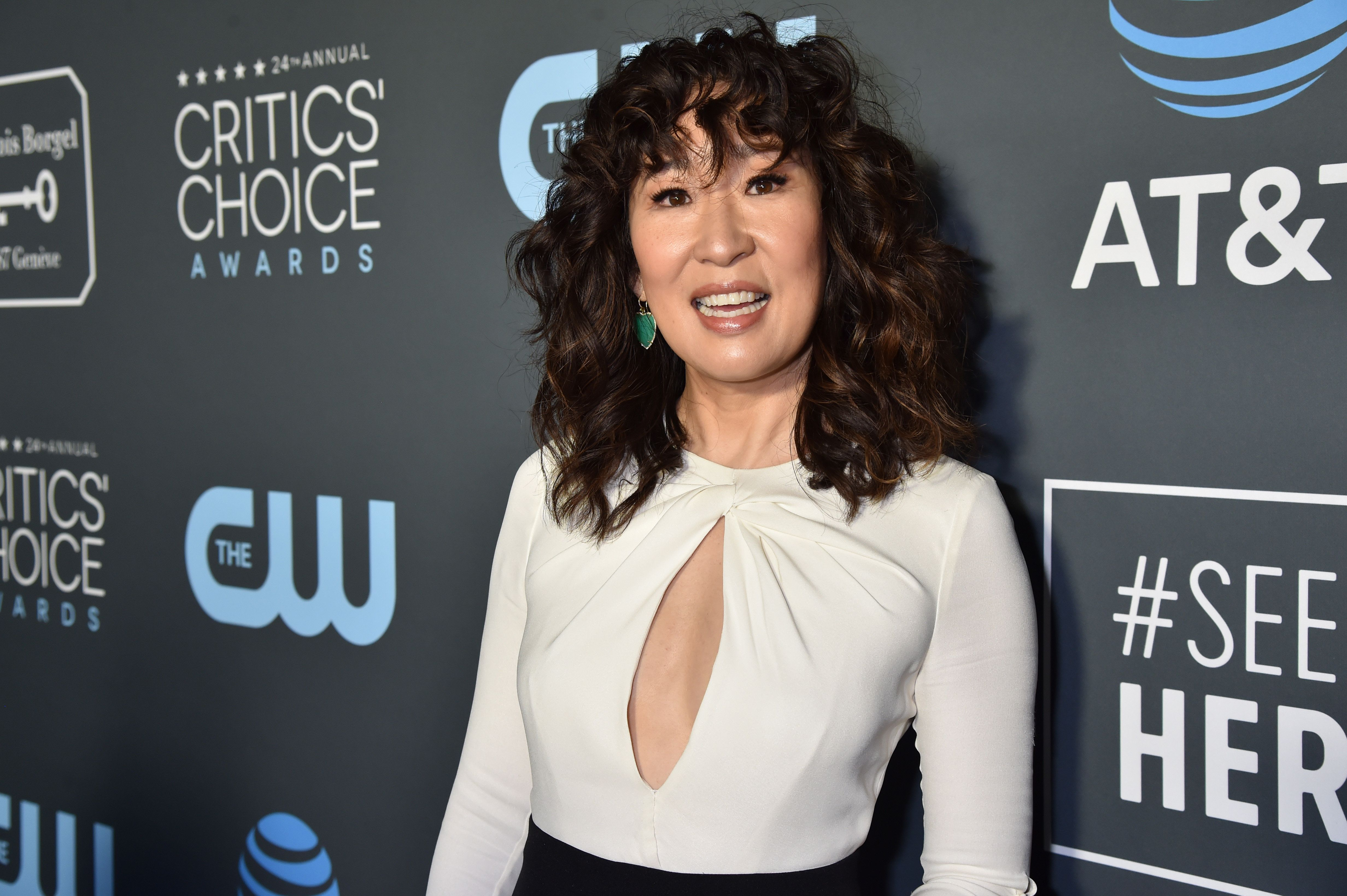 Sandra Oh's curly bangs are among the most enviable.