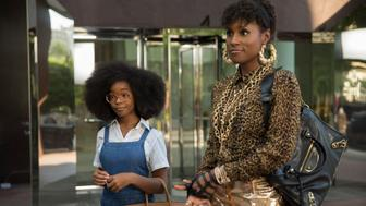 (from left) Little Jordan Sanders (Marsai Martin) and April Williams (Issa Rae) in Little, co-written and directed by Tina Gordon.