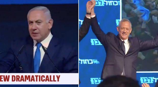 Benjamin Netanyahu et Benny Gantz ce 9 avril lors de leur discours de