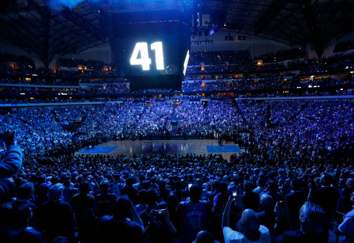 The video board lit up with Nowitzki's number following the team's game against the Phoenix Suns in Dallas on Tuesday.