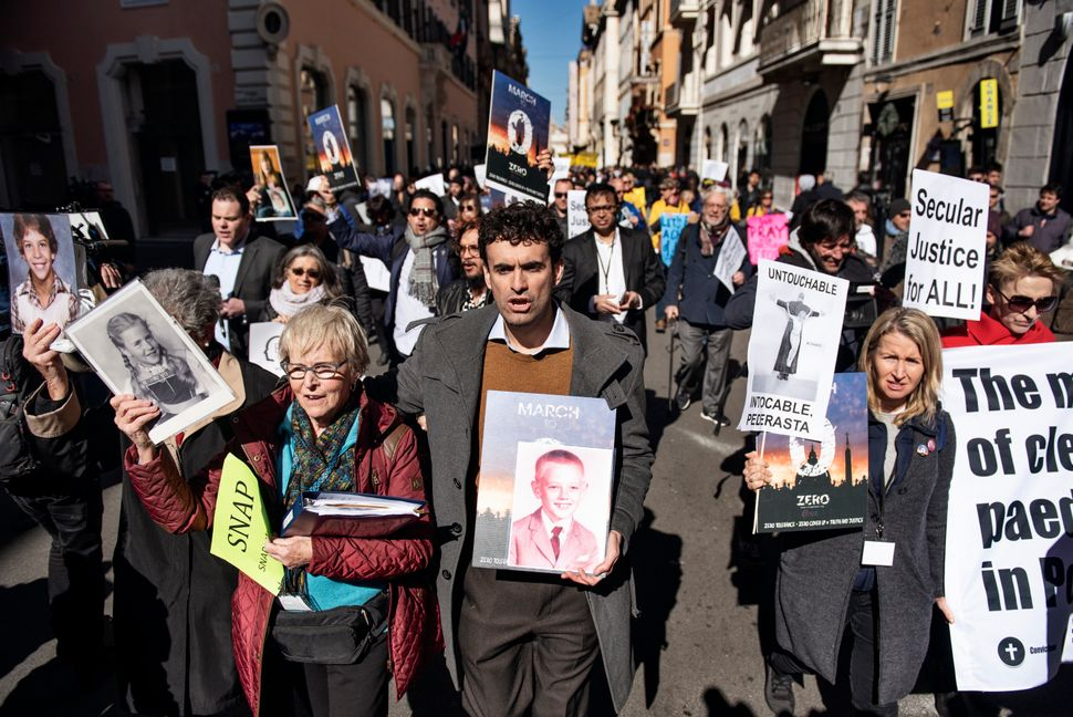 Survivors and activists protest in Rome on Feb. 23, 2019, as Catholic bishops from around the world convened for a historic p