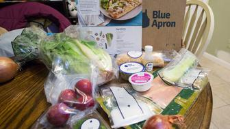 LISBON FALLS, ME - DECEMBER 6: Emily Griffin uses the Blue Apron meal service. The ingredients and recipe page for Smoked Trout Tartines. (Photo by Derek Davis/Portland Press Herald via Getty Images)