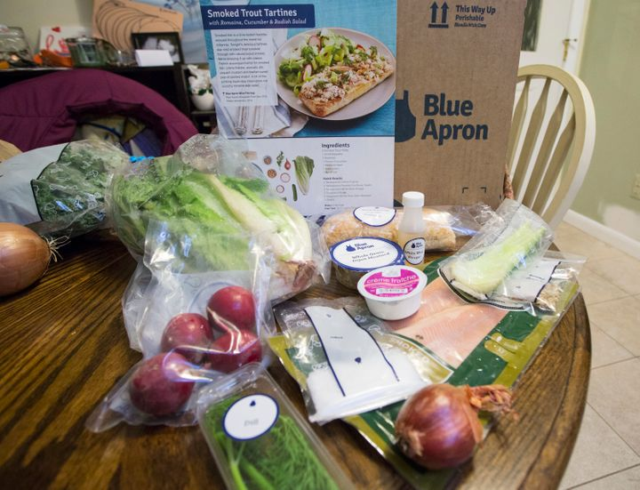 Meal kits, such as this one from Blue Apron, come in pre-portioned packages that arguably create more waste than traditional groceries.