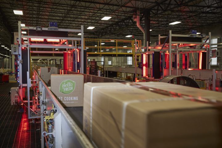 A HelloFresh package moves through an automated scanner at the FedEx Ground distribution center in Jersey City, New Jersey.