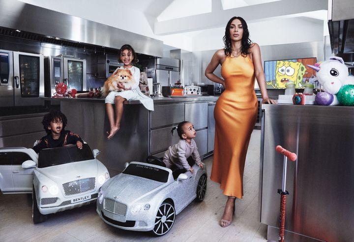 Kim Kardashian with her three children: North, Saint and Chicago.