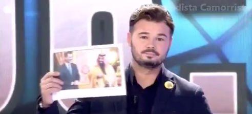Rufián usa una de las fotos más criticadas de Felipe VI para responder a Toni Cantó en 'Todo es