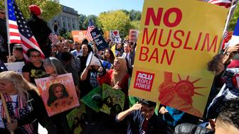 """Muslim and civil rights groups and their supporters gather at a rally against what they call a  """"Muslim ban"""" in Washington, Wednesday, Oct. 18, 2017. (AP Photo/Manuel Balce Ceneta)"""